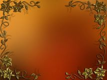 Abstract background with a gold ornamental frame. Golden ornamental frame on a red abstract background Royalty Free Stock Photography