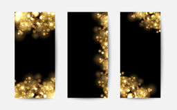 Abstract background with gold sparkles. Shiny defocused gold bokeh lights on black background. Royalty Free Stock Photos