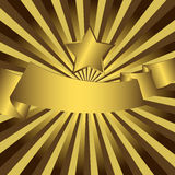 Abstract background with gold star. Abstract gold background with gold star and ribbon Royalty Free Stock Photo