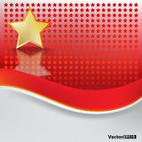 Abstract background with gold star. On red royalty free illustration