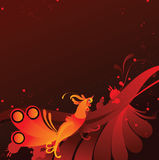 Abstract background with golden bird Stock Photo