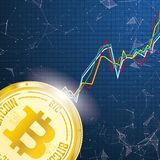 Big Golden Bitcoin Chart Data Network Connected Dots Royalty Free Stock Photography