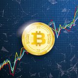 Chart Golden Bitcoin Coin Data Network Connected Dots Royalty Free Stock Photography