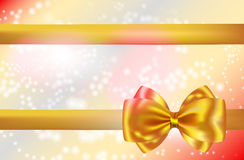 Abstract background with golden bow and ribbon. Gift card. Vector illustration Stock Photos