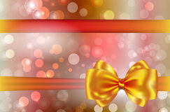 Abstract background with golden bow and ribbon. Gift card. Vector illustration Royalty Free Stock Photo
