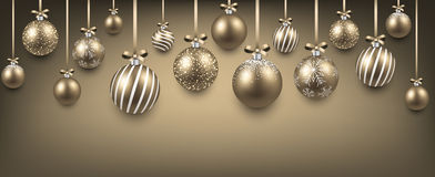 Abstract background with golden christmas balls. Abstract elegant background with golden christmas balls and place for text. Vector illustration Royalty Free Stock Photography