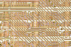 Abstract background - golden circuit board Stock Photos