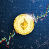 Chart Golden Ethereum Coin Data Network Connected Dots Royalty Free Stock Images