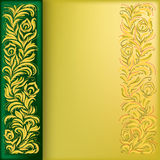 Abstract background with golden floral ornament. On green stock illustration