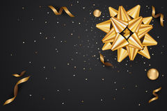 Abstract background with golden gift bow and star, confetti gold. And black colors place for text. illustration Stock Image