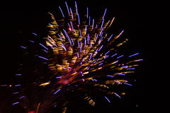 Abstract Background: Golden, Purple and Red Featherduster Fireworks Royalty Free Stock Photography