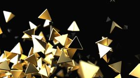 Abstract background with golden pyramidal particles. Futuristic abstract background. 3d rendering gold pyramid Stock Photo