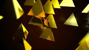 Abstract background with golden pyramids. Digital backdrop. 3d rendering Royalty Free Stock Photo
