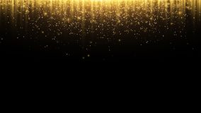 Abstract background. Golden rays of light with luminous magical dust. Glow in the dark. Flying particles of light. Vector. Illustration Royalty Free Stock Images