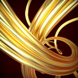 Abstract background. With golden wavy twisted ribbons Royalty Free Illustration