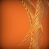 Abstract background with golden wavy twisted ribbons. 3d and computer generated Royalty Free Illustration