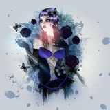 Abstract background with gothic girl Royalty Free Stock Photos