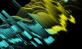 Abstract background with gradient color lines and dots on black. Abstract background with gradient color lines and dots n on black stock image