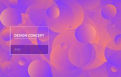 Abstract background, gradient geometric circle shape vector design. Graphic pattern in minimal style. Dynamic motion. Backdrop with vivid round forms stock illustration