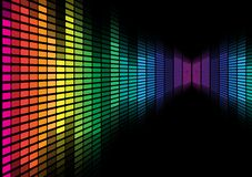 Abstract Background - Graphic Equalizer. Abstract Background - Multicolor Equalizer on Black Background / Vector Stock Photo