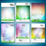 Abstract background with grass. Brochure, flyer or Royalty Free Stock Photo