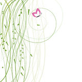 Abstract background with grass and butterfly. Vector illustration Stock Illustration