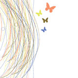 Abstract background with grass and butterfly Stock Image