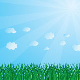 Abstract background with a grass and clouds. Vector illustration Royalty Free Illustration