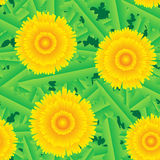 Abstract background with grass and flowers. Abstract background of green grass and yellow flowers. Seamless pattern. Vector illustration Stock Photo