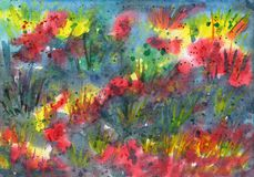 Abstract background with grass motives. Watercolor illustration Stock Image