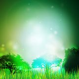 Abstract background with grass and silhouettes of Stock Photo