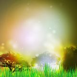 Abstract background with grass and silhouettes of Stock Image
