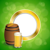 Abstract background green barrel drink glass beer yellow wheat gold circle frame illustration. Vector royalty free illustration