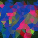 Abstract background of green and blue and pink and yellow flowers and leaves in low-poly style. Abstract background of small triangles polygon blue and yellow stock illustration