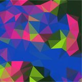 Abstract background of green and blue and pink and yellow flowers and leaves in low-poly style Royalty Free Stock Photos