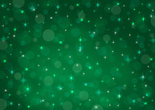 Abstract background green bokeh. Circles and stars Vector Illustration