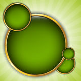 Abstract background with green bubbles. In gold frame, place for text Stock Illustration