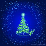 Abstract background with green christmas tree and stars. Illustration in blue and green colors. Vector illustration. Stock Images