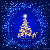 Abstract background with green christmas tree and stars. Abstract background with christmas tree and stars. Illustration in blue and gold colors. Vector Stock Photo