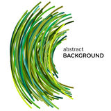Abstract background with green colorful curved lines in a chaotic order. Colored lines with place for your text  on a white background Stock Photo