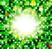 Abstract background with green cubes and ladybug Stock Image