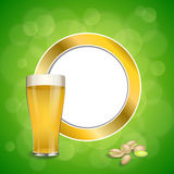 Abstract background green drink glass beer pistachios gold circle frame illustration vector Royalty Free Stock Image
