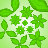 Abstract background. With green flowers and leaves Royalty Free Stock Image