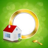 Abstract background green gold house key circle frame illustration Royalty Free Stock Images