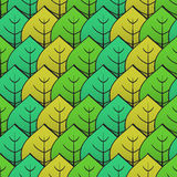 Abstract background with green leaf. Seamless pattern. Vector illustration Stock Image