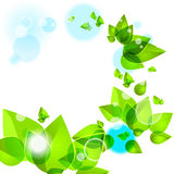 Abstract background with green leaves. And light stock illustration