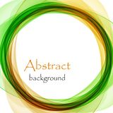 Abstract background with green and orange wave in the form of a circle. Abstract blue background with green and orange wave in the form of a circle Stock Illustration