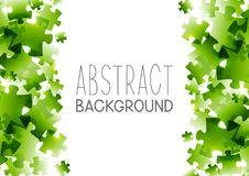 Abstract background with green puzzle elements. Frame stock illustration