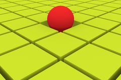 Abstract background in green. And red with cubes and an emerging ball. 3d illustration, 3d rendering Royalty Free Stock Images