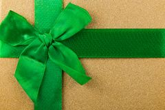 abstract background with green ribbon, green bow, Christmas background, Christmas gifts Stock Photos